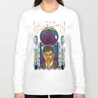 david tennant Long Sleeve T-shirts featuring Doctor Who, David Tennant Allons-Y 10th Doctor by Tom Ryan's Studio