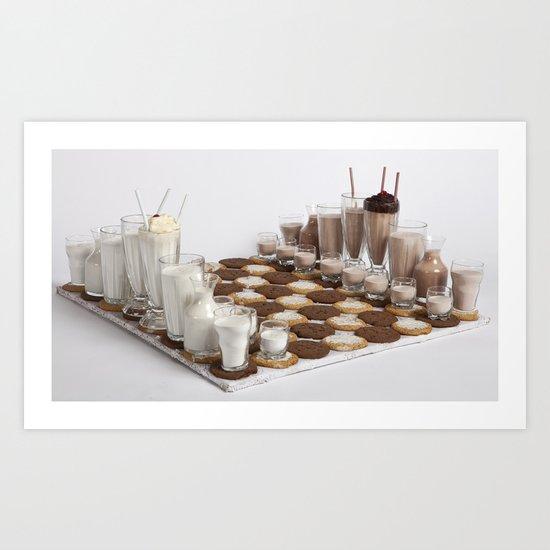 Cookies and Milk Chess Set Art Print