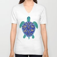 winter V-neck T-shirts featuring Sea Turtle by Cat Coquillette