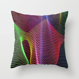 wavy rainbow light painting Throw Pillow