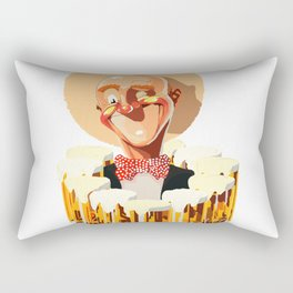 Happy bald man with beers Rectangular Pillow