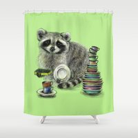 rocket raccoon Shower Curtains featuring Raccoon by Anna Shell