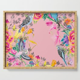 Stardust Pink Floral Birds Motif Serving Tray