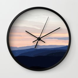 Pastel Sunset Over the Mountains Wall Clock