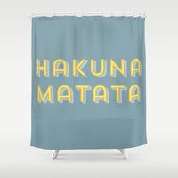 hakuna Shower Curtains featuring Hakuna matata pastelblue by 16floor