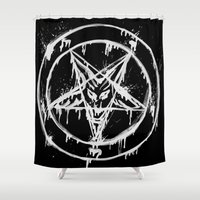 pentagram Shower Curtains featuring Stanic Pentagram by Maioriz Home