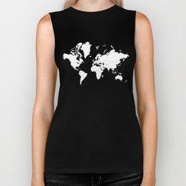 Minimalist World Map White on Black Background. Biker Tank