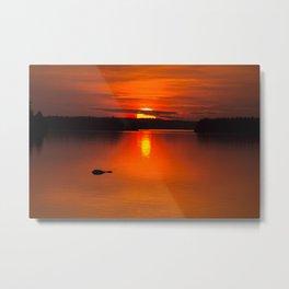 Autumn Sunset Orange Sky Lakescape #decor #society6 #buyart Metal Print