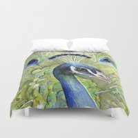 peacock Duvet Covers featuring Peacock by Olechka