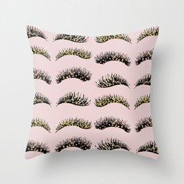 Blush pink - glam lash design Throw Pillow