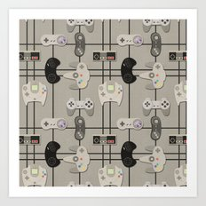 Paper Cut-Out Video Game Controllers Art Print