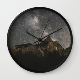 Milky Way Over Mountains - Landscape Photography Wall Clock