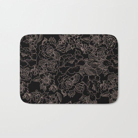 Pink coral tan black floral illustration pattern Bath Mat
