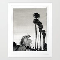 Palm Tree Girl Art Print