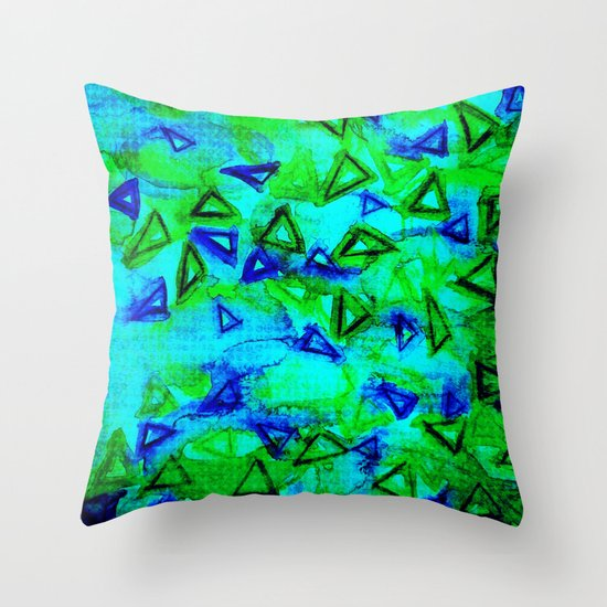 ANALOG zine - TECHNO VIBE Collaboration Piece, Bold Colorful Abstract Watercolor Painting Music Throw Pillow