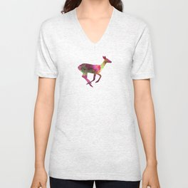 Female Deer 01 in watercolor Unisex V-Neck