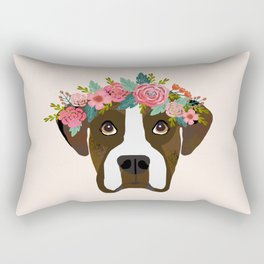 Boxer dog breed floral crown boxers dog lover pure breed gifts Rectangular Pillow