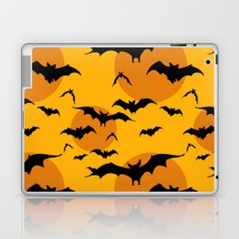 Abstract orange yellow black halloween bats animal pattern Laptop & iPad Skin