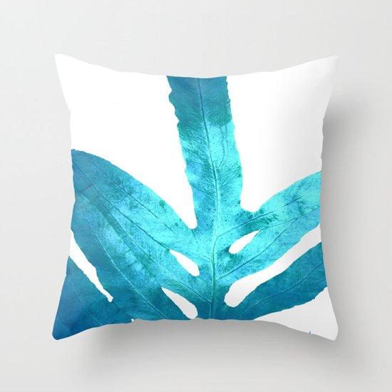 Ocean Blue Fern Throw Pillow by ANoelleJay Society6