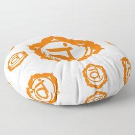 """BROWN SANSKRIT CHAKRAS  PSYCHIC WHEEL """"FEEL"""" Floor Pillow"""