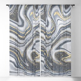 Grey,black and gold marble Sheer Curtain