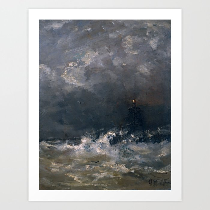 Lighthouse in Breaking Waves Art Print