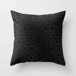 Angled Black & Silver Throw Pillow