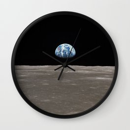 Earthrise Over Moon Apollo 11 Mission Wall Clock
