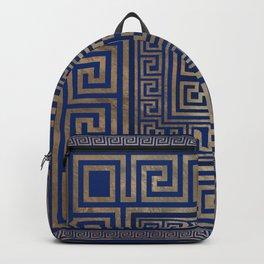 Greek Key Ornament - Greek Meander -gold on blue Backpack