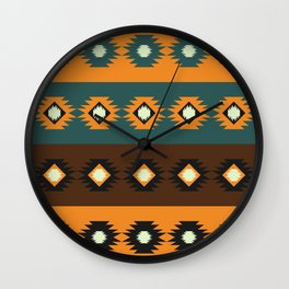 Stripes with native shapes Wall Clock