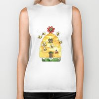 bees Biker Tanks featuring Busy Bees by Shelley Ylst Art