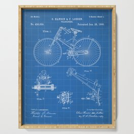Cycling Patent - Bicycle Art - Blueprint Serving Tray