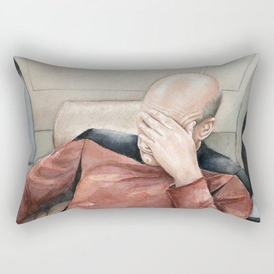 Picard Facepalm Meme Funny Geek Sci-fi Captain Picard TNG Rectangular Pillow