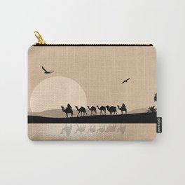Camel Caravan going through the Desert Carry-All Pouch