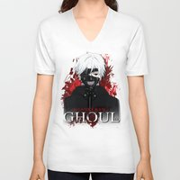 tokyo ghoul V-neck T-shirts featuring Kaneki - Tokyo Ghoul by 666HUGHES