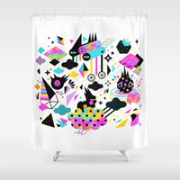 gravity Shower Curtains featuring Gravity by Muxxi