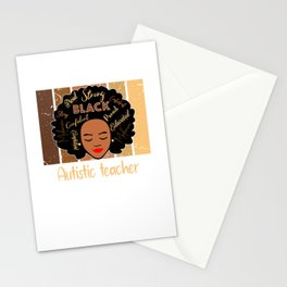 Black Autistic teacher Love African American Stationery Cards