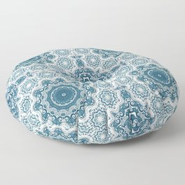 Creamy and blue mandala pattern#4 Floor Pillow