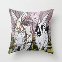 bunny Throw Pillows featuring Bunny by Dawn Patel Art
