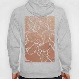 Modern copper tan terracotta glitter ombre color block white floral pattern illustration Hoody