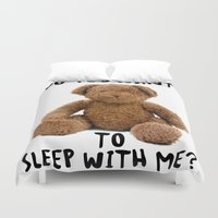 teddy bear Duvet Covers featuring teddy bear by ulas okuyucu