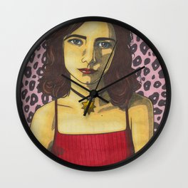Polly Jean and the Pink Leopard Wall Clock