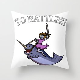 Battle Narwhal Throw Pillow