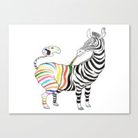 zebra Canvas Prints featuring Zebra by gunberk
