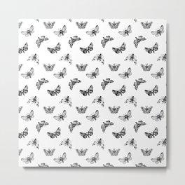 Autumn Night Moth White Pattern Metal Print
