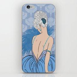 Art Deco Lady with Damask - BIANCA: Blue Monday iPhone Skin