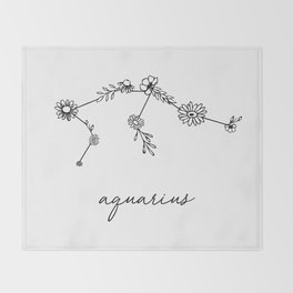 Aquarius Floral Zodiac Constellation Throw Blanket