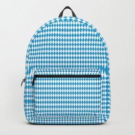 Oktoberfest Bavarian Blue and White Small Diagonal Diamond Pattern Backpack