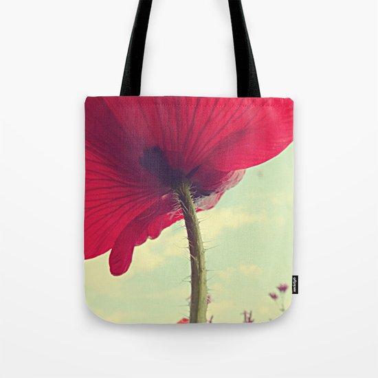 Red Poppy, Blue Sky Tote Bag