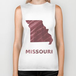 Missouri map outline Burgundy stained wash drawing picture Biker Tank